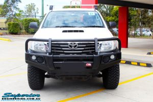 Front on bonnet view of a White Toyota Vigo Hilux after fitment of a MCC 4x4 Bullbar