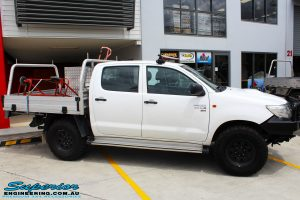 Right side view of a White Toyota Vigo Hilux after fitment of a MCC 4x4 Bullbar