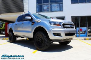 """Right front side view of a Silver Ford PXII Ranger after fitment of a Bilstein 2"""" Inch Lift Kit with King Springs & EFS Leaf Springs"""