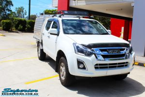 "Right front side view of a White Isuzu D-Max Dual Cab before fitment of a Superior Nitro Gas 2"" Inch Lift Kit"