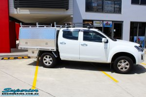 "Right side view of a White Isuzu D-Max Dual Cab before fitment of a Superior Nitro Gas 2"" Inch Lift Kit"