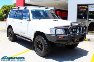 "Front right side view of the Nissan GU Patrol Wagon before fitment of a Superior Remote Reservoir 2"" Inch Lift Kit"