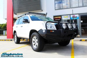 Right front side view of a Toyota 150 Series Prado Wagon before fitment of a Ironman 4x4 45mm Suspension Lift
