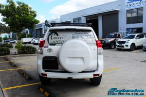 Rear view of a Toyota 150 Series Prado Wagon before fitment of a Ironman 4x4 45mm Suspension Lift