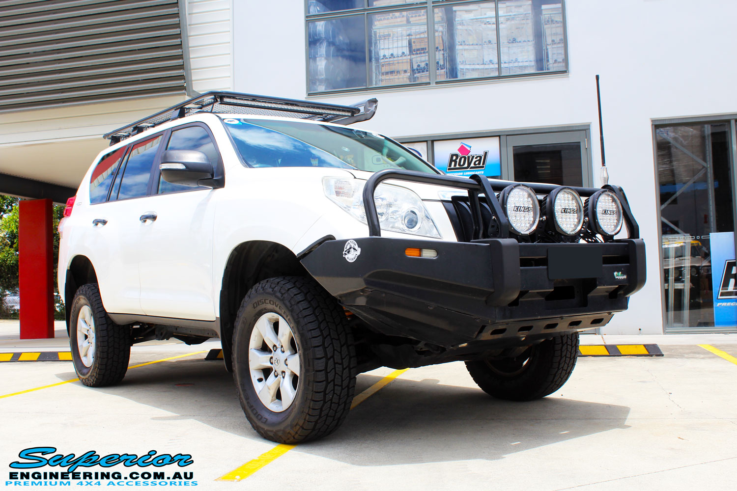 Right front side view of a Toyota 150 Series Prado Wagon after fitment of a Ironman 4x4 45mm Suspension Lift