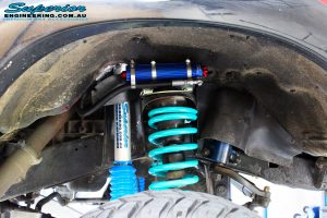 """Front right inside guard shot of the fitted 5"""" Inch Adjustable Monotube Remote Reservoir Shocks, Shock Mounts + Coil Springs"""