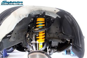 """Front left inside guard view of the fitted Bilstein 2"""" Strut + King Coil Spring"""