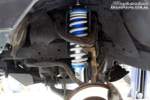 Left front inside view of the fitted Superior nitro Gas Coil Spring with Superior Nitro Gas Front Strut & Coil Spring