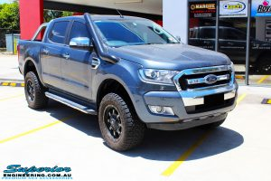 """Right front side view of a Ford PXII Ranger in Grey before fitment of a Superior 2"""" Inch Remote Reservoir Lift Kit, Rhino 4x4 Evolution 3D Winch Bar + VRS Winch"""