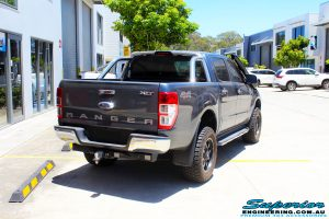 """Rear right view of a Ford PXII Ranger in Grey before fitment of a Superior 2"""" Inch Remote Reservoir Lift Kit, Rhino 4x4 Evolution 3D Winch Bar + VRS Winch"""