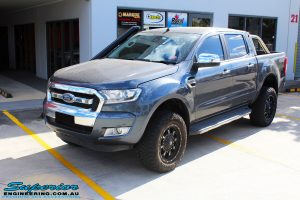 """Left front side view of a Ford PXII Ranger in Grey after fitment of a Superior 2"""" Inch Remote Reservoir Lift Kit, Rhino 4x4 Evolution 3D Winch Bar + VRS Winch"""