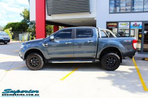 """Left side view of a Ford PXII Ranger in Grey after fitment of a Superior 2"""" Inch Remote Reservoir Lift Kit, Rhino 4x4 Evolution 3D Winch Bar + VRS Winch"""