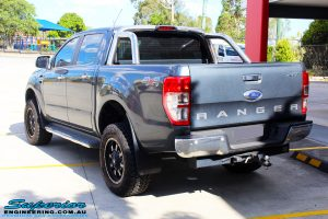 """Rear left view of a Ford PXII Ranger in Grey after fitment of a Superior 2"""" Inch Remote Reservoir Lift Kit, Rhino 4x4 Evolution 3D Winch Bar + VRS Winch"""