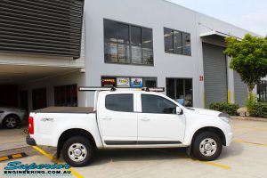 """Right side view of a White Holden RG Colorado Dual Cab before fitment of a Superior Nitro Gas 2"""" Inch Lift Kit, Rhino 4x4 Evolution Winch Bar, Ironman 4x4 Rear Protection Towbar + VRS Winch"""