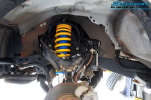 """Front left inside guard view of the fitted Superior Nitro Gas 2"""" Strut + King Coil Spring"""