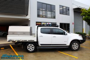 Right side view of a White Holden Colorado RG before fitment of a Bilstein 45mm Lift Kit with King Coil Springs + Ironman 4x4 Snorkel