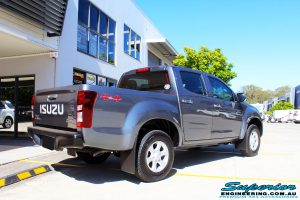 """Rear right view of a Grey Isuzu D-Max Dual Cab before fitment of a Superior Nitro Gas 2"""" Inch Lift Kit, MCC Drawer System, MCC 4x4 Bullbar, Hayman Reece Towbar, MCC 4x4 Side Steps, EGR Premium Canopy, Rhino Roof Rack & a Ironman 4x4 Instant Awning with LED's"""