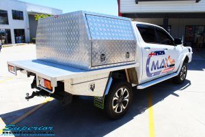 "Rear right view of a White Mazda BT50 Dual Cab after fitment of a Superior 2"" Inch Remote Reservoir Lift Kit"