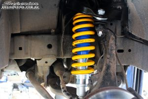 Left front inside view of the fitted Superior Nitro Gas Strut with Coil Spring and Upper Control Arm