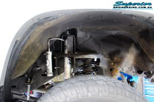 """Left right inside guard view of the fitted Fox 2.0 Performance Series Remote Reservoir 2"""" Inch Shock + Coil Spring"""