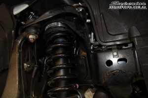 Inner right side guard view of the fitted Superior Strut Spacer