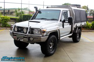 Left front side view of a Toyota 79 Series Landcruiser Single Cab before fitment of a range of Superior and various other brands suspension components