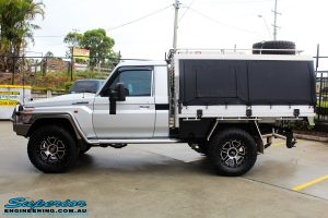 Left side view of a Toyota 79 Series Landcruiser Single Cab before fitment of a range of Superior and various other brands suspension components
