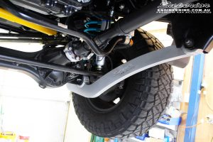 Mid front right shot of a fitted Superior Superflex Radius Arm