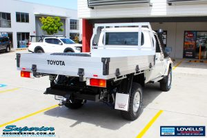 Rear right side view of a Toyota Landcruiser 79 Series after fitment of a Lovells GVM Upgrade