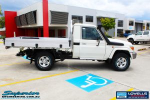 Right side view of a Toyota Landcruiser 79 Series before fitment of a Lovells GVM Upgrade