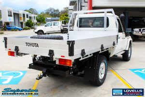 Rear right side view of a Toyota Landcruiser 79 Series before fitment of a Lovells GVM Upgrade