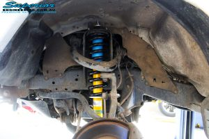 """Left front inside guard view of the fitted Bilstein 2"""" Inch Front Strut + EFS Coil Spring"""