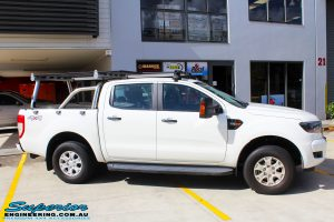 Left side view of a Ford PXII Ranger in White before fitment of a Tough Dog 40mm Lift Kit