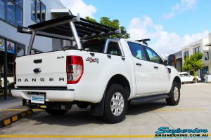 Left rear view of a Ford PXII Ranger in White before fitment of a Tough Dog 40mm Lift Kit