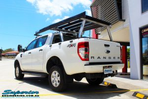 Right rear view of a Ford PXII Ranger in White after fitment of a Tough Dog 40mm Lift Kit