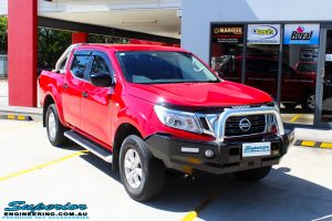 """Right front side view of a Nissan NP300 Navara Dual Cab before fitment of a Superior Nitro Gas 2"""" Inch Lift Kit"""