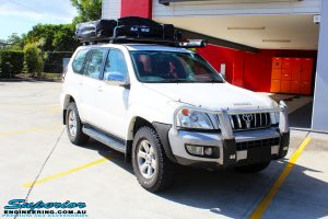 """Right front side view of a Toyota 120 Series Prado Wagon before fitment of a 2"""" Inch Lift Kit"""