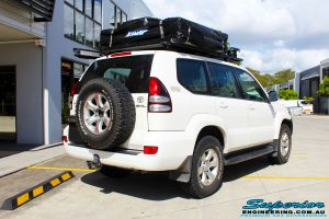 """Rear right view of a Toyota 120 Series Prado Wagon before fitment of a 2"""" Inch Lift Kit"""