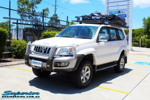 """Right front side view of a Toyota 120 Series Prado Wagon after fitment of a 2"""" Inch Lift Kit"""