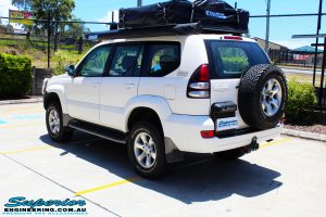"Rear right view of a Toyota 120 Series Prado Wagon after fitment of a 2"" Inch Lift Kit"