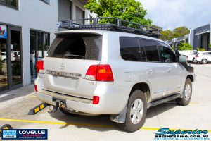 Rear right side view of a Toyota 200 Series Landcruiser before fitment of a Lovells GVM Upgrade Suitable For Toyota Landcruiser 200 11/07 on 4000kg (OE 3300kg) Post Registration