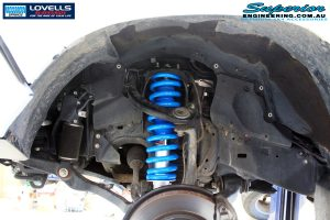 Front left inside guard view of the fitted Gas Legend Strut + Coil Springs- Raised (GVM)