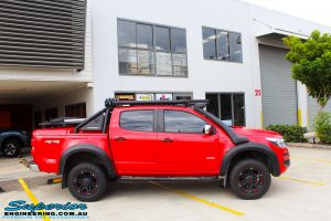 Right side side view of a Holden RG Colorado Dual Cab in Red before fitment of a Colour Coded Rhino 4x4 Evolution 3D Winch Bar with Warn Winch