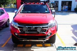 Front on bonnet view of a Holden RG Colorado Dual Cab in Red after fitment of a Colour Coded Rhino 4x4 Evolution 3D Winch Bar with Warn Winch