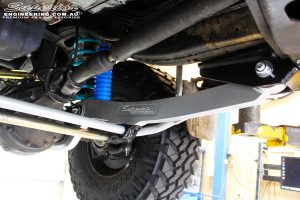 Mid right underbody view looking at the fitted Superior Hybrid Superflex Radius Arm with Drop Box, Superior 4340m Comp Spec Tie Rod & Superior Superflex Swaybar Kit