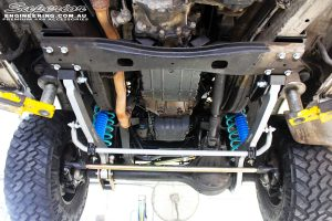 Mid underbody view looking at the fitted Superior Hybrid Superflex Radius Arms with Drop Boxes, Superior 4340m Comp Spec Tie Rod & Superior Superflex Swaybar Kit