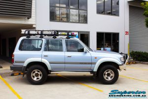 """Right side view of a Blue Marlin Toyota 80 Series Landcruiser Wagon after fitment of a Superior Nitro Gas 2"""" Inch Lift Kit, Superior Radius Arm Rear Bushes & Superior Swaybar Extensions"""