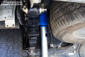 """Rear left view of the fitted Superior Nitro Gas 2"""" Shock with Leaf Springs & Greaseable Rear Shackles"""