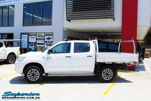 """Left side view of a Toyota Vigo Hilux Dual Cab before fitment of a Superior Remote Reservoir 2"""" Inch Lift Kit with King Coil Springs"""