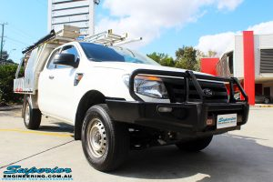 """Right front side view of a White Ford PX Ranger before fitment of a Superior Nitro Gas 2"""" Inch Lift Kit with King Springs & EFS Springs"""